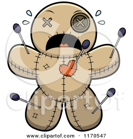 Cartoon of a Scared Voo Doo Doll - Royalty Free Vector Clipart by Cory Thoman