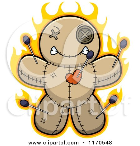 Cartoon of a Burning Voo Doo Doll - Royalty Free Vector Clipart by Cory Thoman
