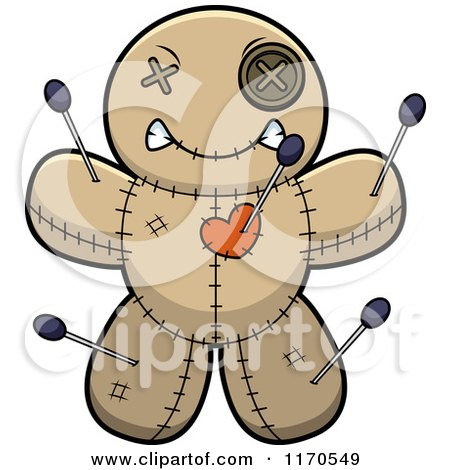 Cartoon of a Mad Voo Doo Doll - Royalty Free Vector Clipart by Cory Thoman