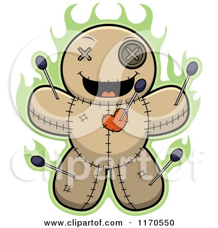 Cartoon of a Grinning Voo Doo Doll - Royalty Free Vector Clipart by Cory Thoman
