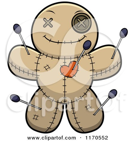 Cartoon of a Happy Voo Doo Doll - Royalty Free Vector Clipart by Cory Thoman