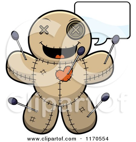 Cartoon of a Talking Voo Doo Doll - Royalty Free Vector Clipart by Cory Thoman