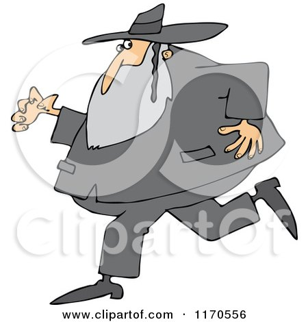 Cartoon of a Rabbi Man Running and Glancing Back - Royalty Free Vector Clipart by djart