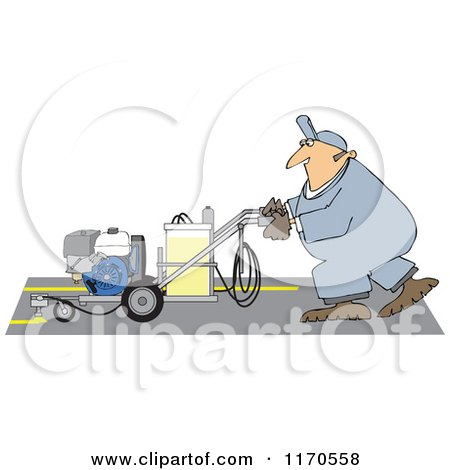 Cartoon of a Parking Lot Striper Worker Operating a Machine - Royalty Free Vector Clipart by djart