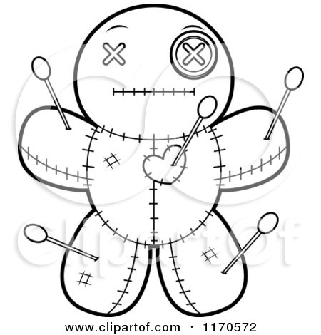 Cartoon Clipart Of A Calm Voo Doo Doll - Vector Outlined Coloring Page by Cory Thoman