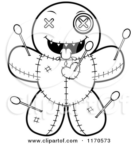 Cartoon Clipart Of A Hungry Voo Doo Doll - Vector Outlined Coloring Page by Cory Thoman