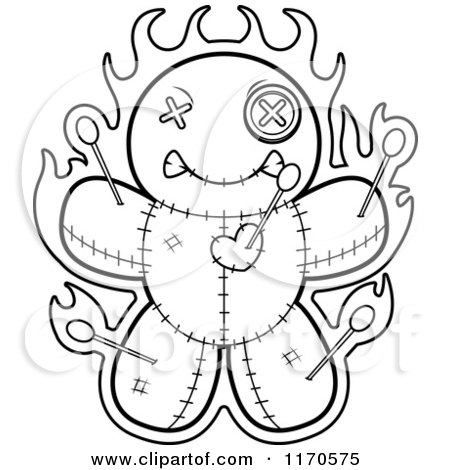Cartoon Clipart Of A Burning Voo Doo Doll - Vector Outlined Coloring Page by Cory Thoman
