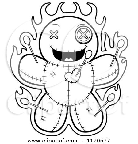 Cartoon Clipart Of A Grinning Voo Doo Doll - Vector Outlined Coloring Page by Cory Thoman