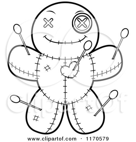 Cartoon Clipart Of A Happy Voo Doo Doll - Vector Outlined Coloring Page by Cory Thoman