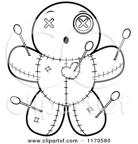 Cartoon Clipart Of A Surprised Voo Doo Doll - Vector Outlined Coloring Page by Cory Thoman