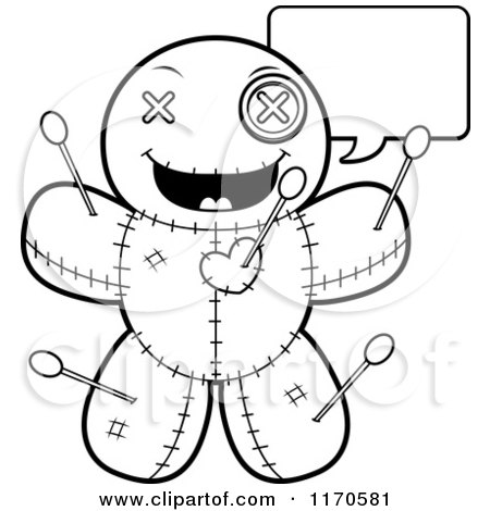 Cartoon Clipart Of A Talking Voo Doo Doll - Vector Outlined Coloring Page by Cory Thoman