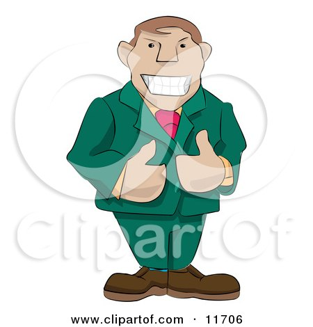 Friendly Boss Giving Two Thumbs Up Clipart Illustration by AtStockIllustration