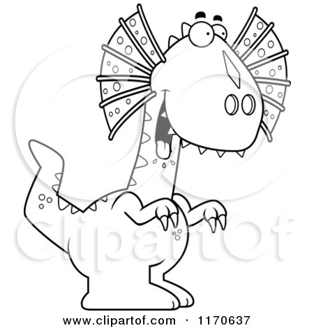 Cartoon Of A Happy Talking Dilophosaurus Dinosaur