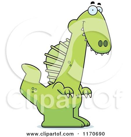 Cartoon of a Happy Spinosaurus Dinosaur - Royalty Free Vector Clipart by Cory Thoman
