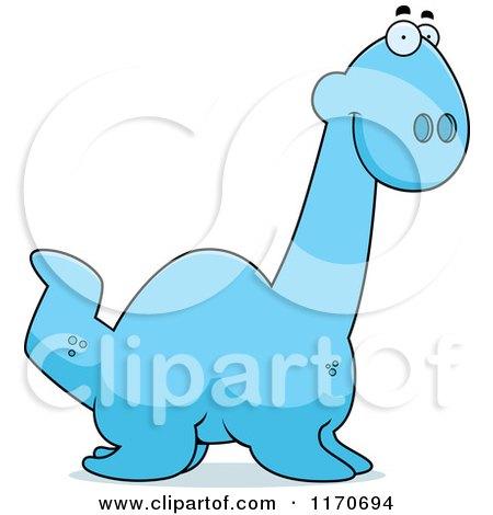 Cartoon of a Happy Plesiosaur Dinosaur - Royalty Free Vector Clipart by Cory Thoman