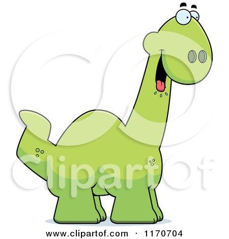 Cartoon of a Hungry Apatosaurus Dinosaur - Royalty Free Vector Clipart by Cory Thoman