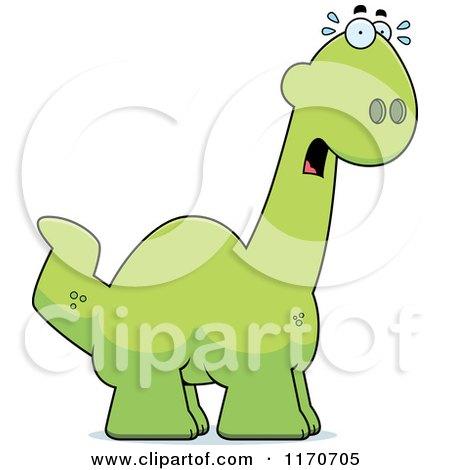 Cartoon of a Frightened Apatosaurus Dinosaur - Royalty Free Vector Clipart by Cory Thoman