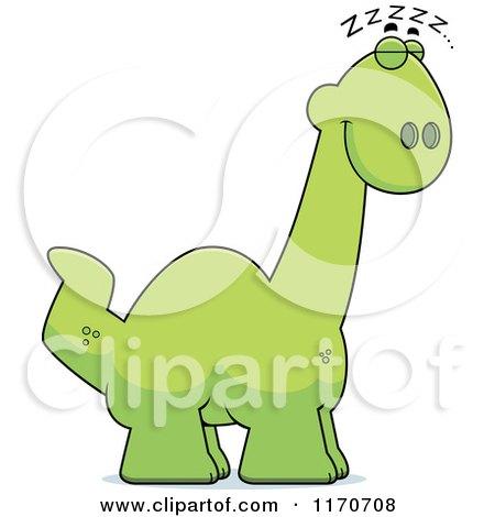 Cartoon of a Sleeping Apatosaurus Dinosaur - Royalty Free Vector Clipart by Cory Thoman