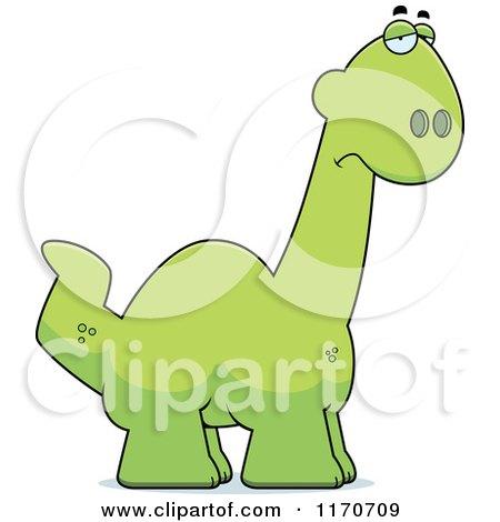 Cartoon of a Depressed Apatosaurus Dinosaur - Royalty Free Vector Clipart by Cory Thoman