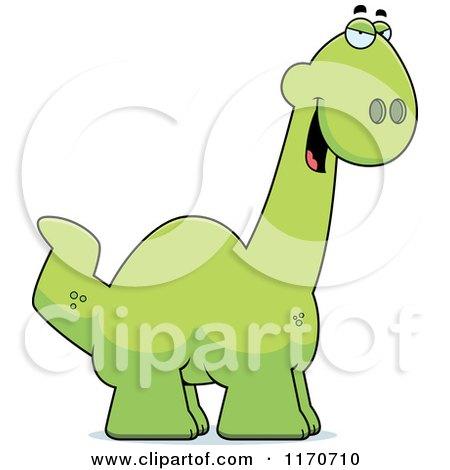 Cartoon of a Sly Apatosaurus Dinosaur - Royalty Free Vector Clipart by Cory Thoman