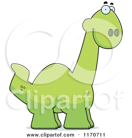 Cartoon of a Happy Apatosaurus Dinosaur - Royalty Free Vector Clipart by Cory Thoman