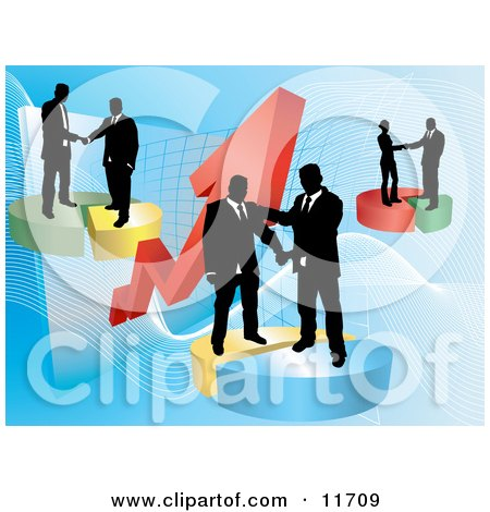 Groups of Businessmen Shaking Hands on Deals on Pie Charts, Increasing Revenue for the Company Posters, Art Prints