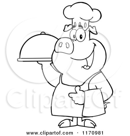 Cartoon of an Outlined Chef Pig Standing with a Cloche Platter - Royalty Free Vector Clipart by Hit Toon