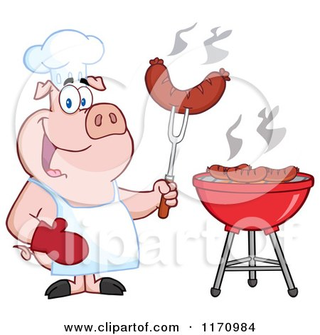 Cartoon of a Chef Pig Holding a Sausage on a Fork by a Barbeque - Royalty Free Vector Clipart by Hit Toon