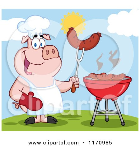 Cartoon of a Chef Pig Holding a Sausage on a Fork by a Grill - Royalty Free Vector Clipart by Hit Toon