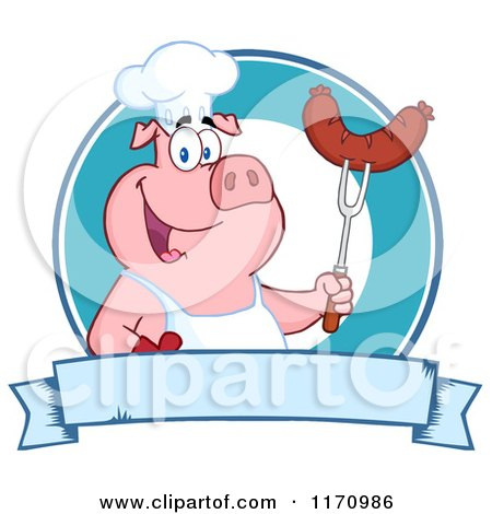 Cartoon of a Chef Pig Holding a Sausage on a Bbq Fork over a Blue Banner - Royalty Free Vector Clipart by Hit Toon