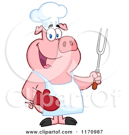 Cartoon of a Bbq Chef Pig Holding a Fork - Royalty Free Vector Clipart by Hit Toon