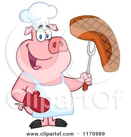 Cartoon of a Chef Pig Holding a Cooked Steak on a Bbq Fork - Royalty Free Vector Clipart by Hit Toon