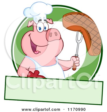 Cartoon of a Chef Pig Holding a Beef Steak on a Bbq Fork over a Green Circle and Banner - Royalty Free Vector Clipart by Hit Toon