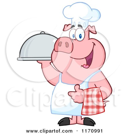 Cartoon of a Chef Pig Standing with a Cloche Platter - Royalty Free Vector Clipart by Hit Toon