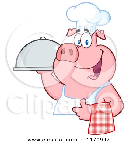 Cartoon of a Chef Pig with a Cloche Platter - Royalty Free Vector Clipart by Hit Toon