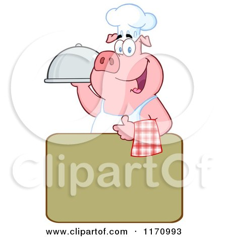 Cartoon of a Chef Pig with a Cloche Platter over a Sign - Royalty Free Vector Clipart by Hit Toon