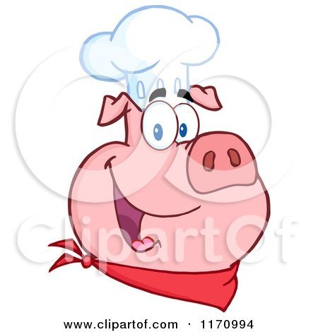 Cartoon of a Chef Pig Wearing a Hat - Royalty Free Vector Clipart by Hit Toon