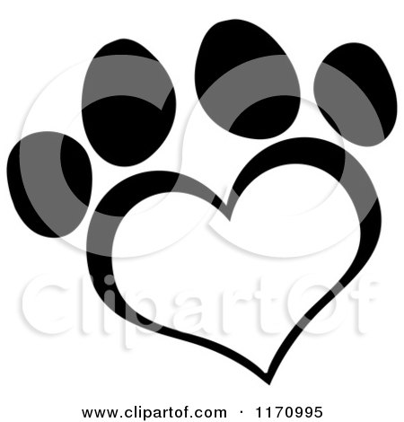 Cartoon of a Black and White Heart Shaped Paw Print - Royalty Free Vector Clipart by Hit Toon