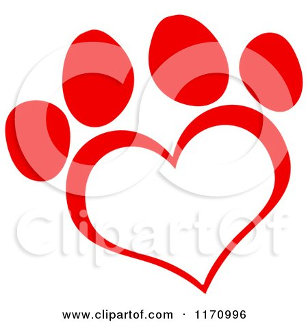 Cartoon of a Red Heart Shaped Paw Print - Royalty Free Vector Clipart by Hit Toon