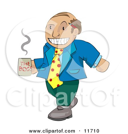 Balding Boss Man in Mismatched Clothing Carrying a Cup of Coffee Posters, Art Prints