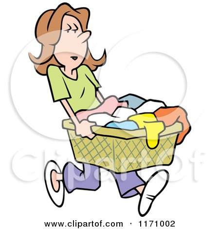 Cartoon Of An Angry Woman Carrying A Laundry Basket