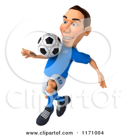 Clipart of a 3d Italian Soccer Player in Action 5 - Royalty Free CGI Illustration by Julos
