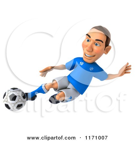 Clipart of a 3d Italian Soccer Player in Action 6 - Royalty Free CGI Illustration by Julos