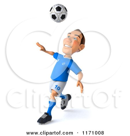 Clipart of a 3d Italian Soccer Player in Action 2 - Royalty Free CGI Illustration by Julos