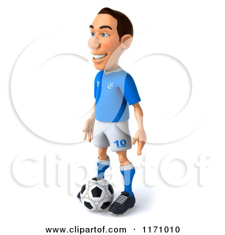 Clipart of a 3d Italian Soccer Player Standing over the Ball 2 - Royalty Free CGI Illustration by Julos