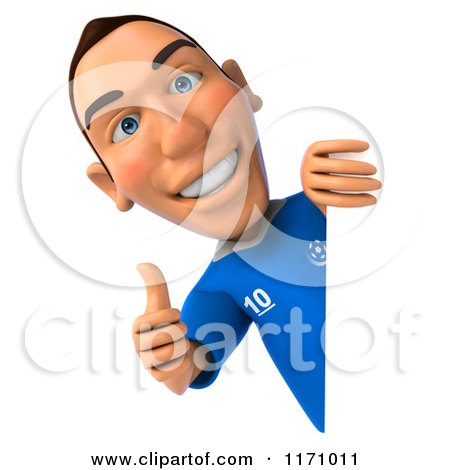 Clipart of a 3d Italian Soccer Player Holding a Thumb up by a Sign - Royalty Free CGI Illustration by Julos