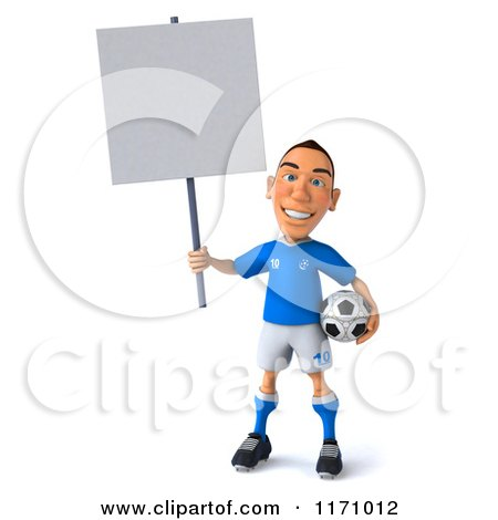 Clipart of a 3d Italian Soccer Player Holding a Sign - Royalty Free CGI Illustration by Julos