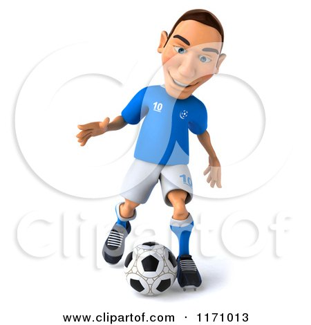 Clipart of a 3d Italian Soccer Player in Action - Royalty Free CGI Illustration by Julos