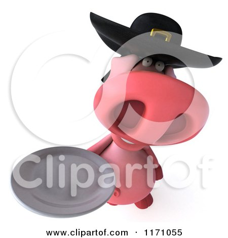 Clipart of a 3d Pig Wearing a Breton Hat and Holding a Plate 2 - Royalty Free CGI Illustration by Julos