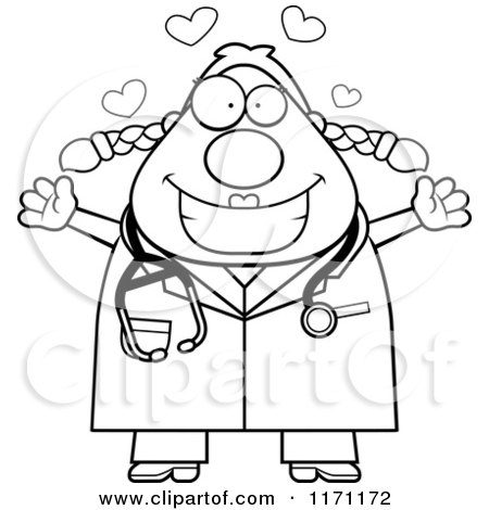 Cartoon Clipart Of A Loving Female Surgeon Doctor Or